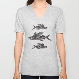 Flying Fish   Black and White Unisex V-Neck