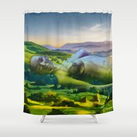 sleeping beauty Shower Curtains featuring Sleeping Beauty by Anthony Mwangi