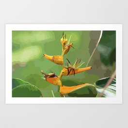 Tropical Flower CR Illustration yellow Art Print