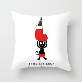 Cute black cat holding Christmas sock and champagne bottle Throw Pillow