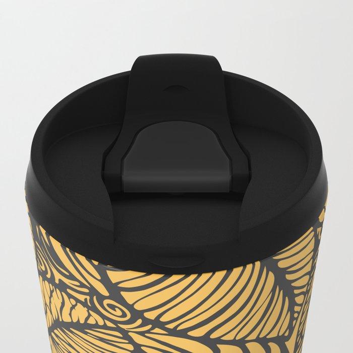 Summer Leaves Gold Metal Travel Mug
