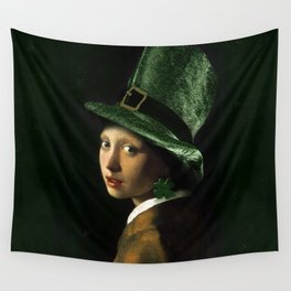 Girl With A Shamrock Earring Wall Tapestry