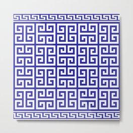 Greek Key (Navy Blue & White Pattern) Metal Print