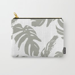 Simply Retro Gray Palm Leaves on White Carry-All Pouch