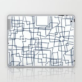 Decorative blue and white abstract squares Laptop & iPad Skin