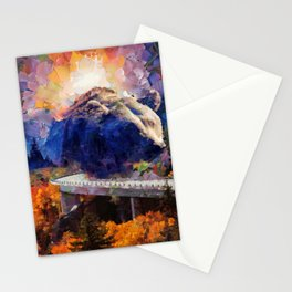 Big mountain bear on highway Stationery Cards
