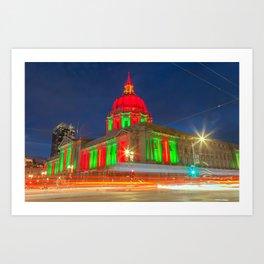 San Francisco City Hall Holiday Light 2 Art Print