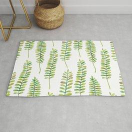 Watercolour Fern Pattern   Original Green Rug