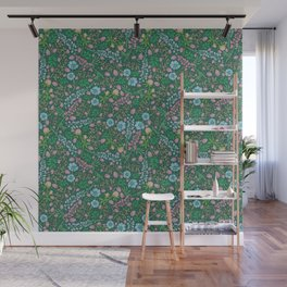 Violet clover and lupine among cornflowers and herbs Wall Mural