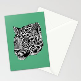 Amur leopard cub - green - big cat Stationery Cards