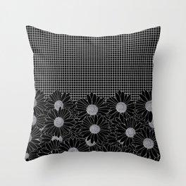 Daisy Grid Black Throw Pillow
