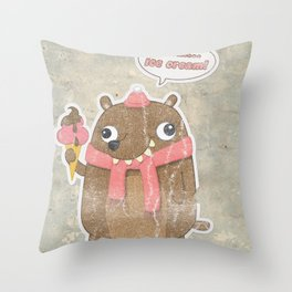 Icecream Bear Throw Pillow