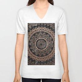 Mandala - rose gold and black marble Unisex V-Neck