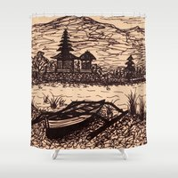 bali Shower Curtains featuring Bali Boating by Erica Putis