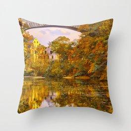 Fall at Upper Falls, Massachusetts.  Echo Bridge Throw Pillow