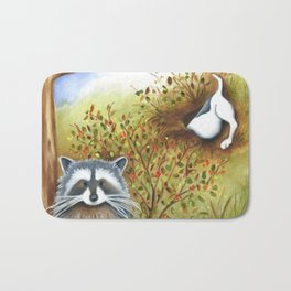 Silly Dog  Jack Russell Terrier, Raccoon, Landscape Painting, Original Art Bath Mat