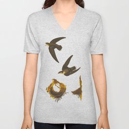 Vintage Scientific Bird & Botanical Illustration Unisex V-Neck