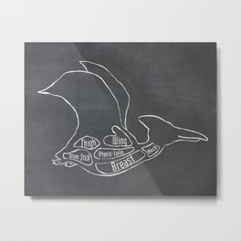 Pterodactyl Dinosaur (A.K.A Flying Reptile - Pterodactylus) Butcher Meat Diagram Metal Print