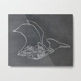 Pterodactyl Dinosaur (A.K.A Flying Reptile - Pterodactylus) Butcher Meat Diagram Metal Print