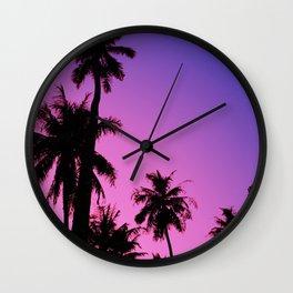 Tropical palm trees with purplish gradient Wall Clock