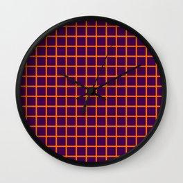 Orange On Purple Grid Wall Clock