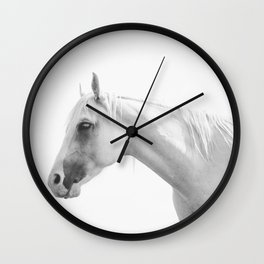 White Horse in Black and White Wall Clock