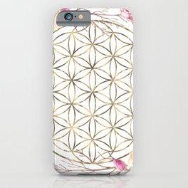 Flower of Life Rose Garden Gold iPhone Case