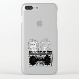 Hedgehogs on Boombox Clear iPhone Case