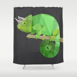 Low Poly Chameleon Shower Curtain