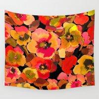 peach Wall Tapestries featuring peach  floral by Ariadne