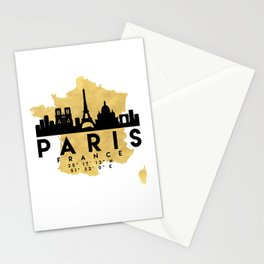 PARIS FRANCE SILHOUETTE SKYLINE MAP ART Stationery Cards