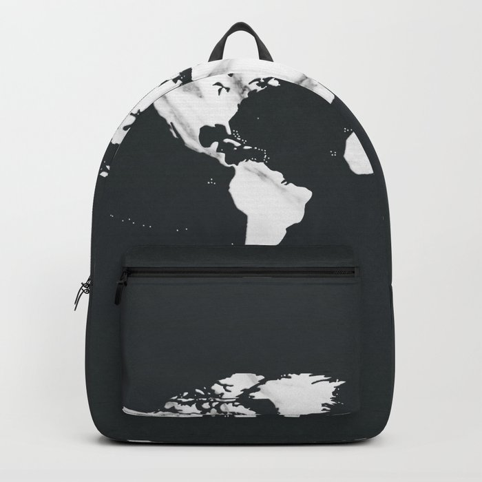 Marble World Map in Black and White Backpack