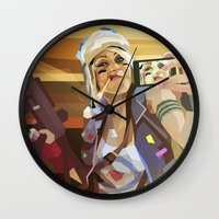 tank girl Wall Clocks featuring Tank Girl by Liam Brazier