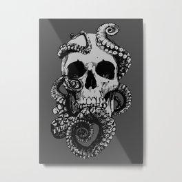 Skull & Octopus Metal Print