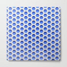 Blue white honeycomb hexagons Metal Print
