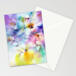 Abstract flowers. Watercolor floral pattern. Colorful delicate florals. Stationery Cards