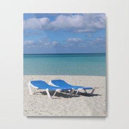 Deck Chairs on Beach Metal Print