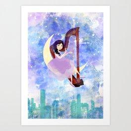 Harp girl 2: Music at night Art Print