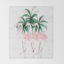 Three Flamingos Throw Blanket