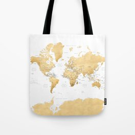 Gold world map with country capitals Tote Bag