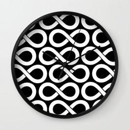 Black and White Infinity Symbols Pattern Wall Clock