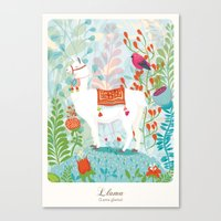 llama Canvas Prints featuring Llama by The Wildest Little Things