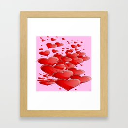 RED CANDY VALENTINE HEARTS IN PINK ART Framed Art Print