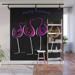 Party Animals Four on Black Wall Mural