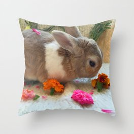 Bunny Eating Edible, Organic Flowers Throw Pillow