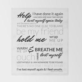 Breathe Me Lyrics artwork Throw Blanket