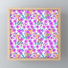 Cute little baby deer fawns lost in the forest of delicate pink flowers pattern. Framed Mini Art Print