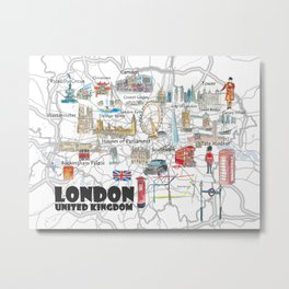 London UK Illustrated Travel Poster Favorite Map Tourist Highlights Metal Print