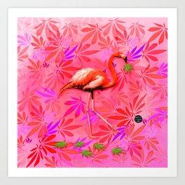 Blushing Cannabis Flamingo Art Print
