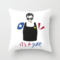 watchmen Throw Pillows featuring [ Watchmen ] The Comedian by Vyles
